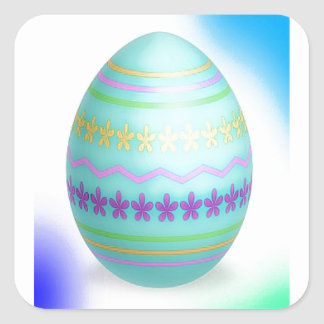 Easter Egg Blues Square Sticker