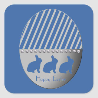 Easter Egg Bunnies Blue Square Sticker