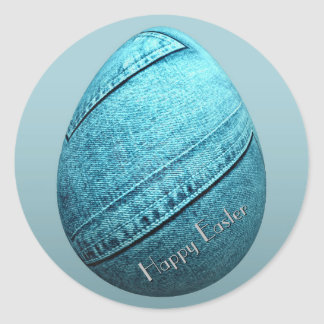 Easter Egg Bunnies Denim Classic Round Sticker