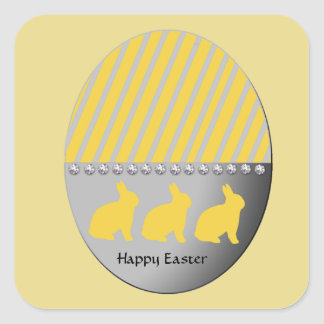 Easter Egg Bunnies Yellow Square Sticker