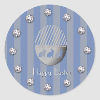 Easter Egg Bunny Blue Stripes and Jewel Bobs Classic Round Sticker