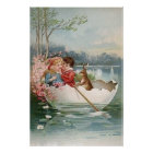 Easter Egg Bunny Boat Young Couple Landscape Poster
