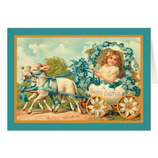 Easter Egg Carriage Vintage Floral Card