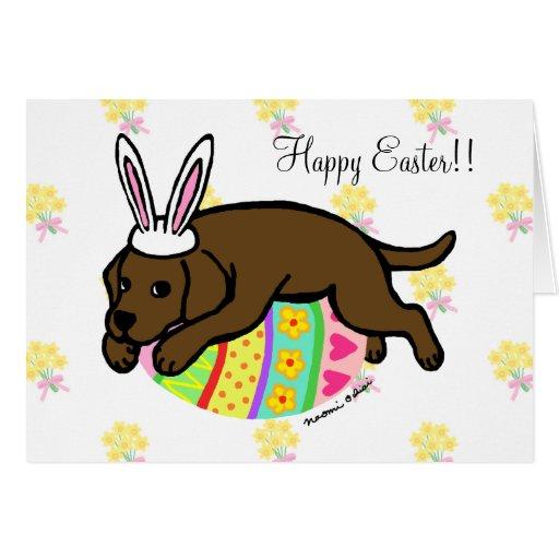 Easter Egg Chocolate Labrador Cartoon Greeting Cards