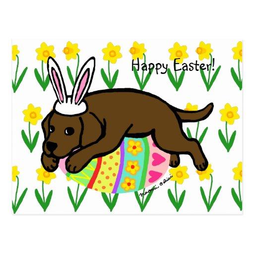 Easter Egg Chocolate Labrador Cartoon Post Cards
