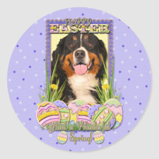 Easter Egg Cookies - Bernese Mountain Dog Round Sticker