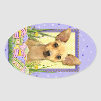Easter Egg Cookies - Chihuahua - Daisy Oval Sticker