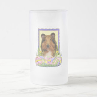 Easter Egg Cookies - Collie Frosted Glass Beer Mug