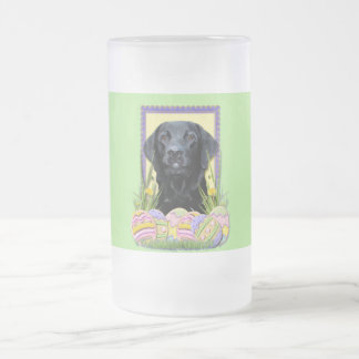 Easter Egg Cookies - Labrador - Black Frosted Glass Beer Mug