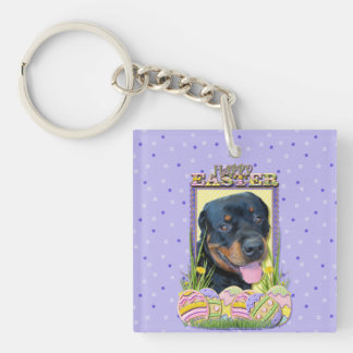 Easter Egg Cookies - Rottweiler - Harley Double-Sided Square Acrylic Keychain