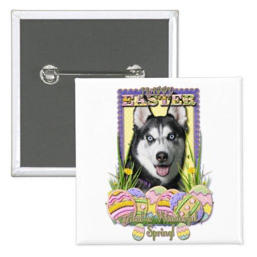 Easter Egg Cookies - Siberian Husky Pinback Buttons