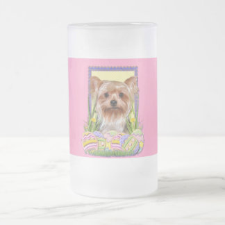 Easter Egg Cookies - Yorkshire Terrier Frosted Glass Beer Mug
