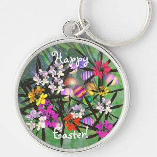 Easter Egg Garden Silver-Colored Round Keychain