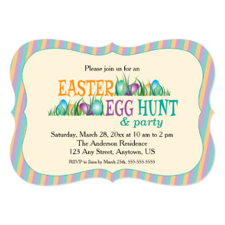 Easter Egg Hunt and Party, Colourful Eggs Card