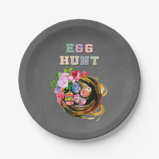 Easter EGG HUNT Basket with Eggs & Flowers Chalk Paper Plate