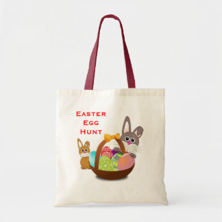 Easter Egg Hunt Cute Bunny Rabbits Basket and Eggs