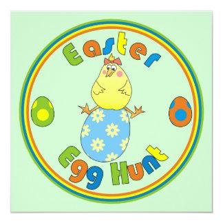 Easter Egg Hunt Hen on Blue Egg Party Invitations