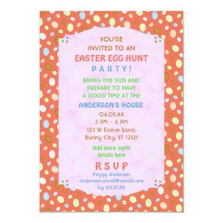 Easter Egg Hunt Party Elegant Retro Coral Pink Card