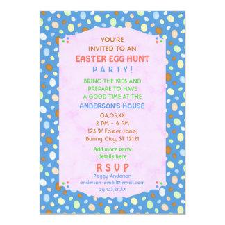 Easter Egg Hunt Party Elegant Retro Pretty Blue Card