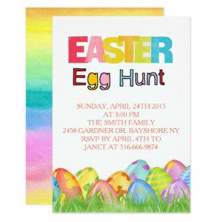 Easter Egg Hunt watercolors Card