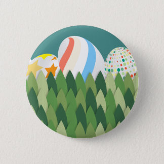 Easter Egg Hunt with Grass Background 2 Inch Round Button