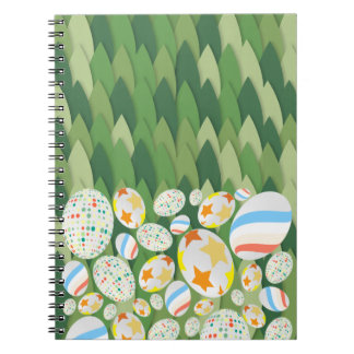 Easter Egg Hunt with Grass Background Notebook