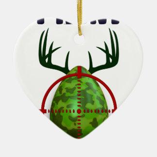 easter egg, I hunt easter deer eggs, funny shooter Ceramic Heart Ornament