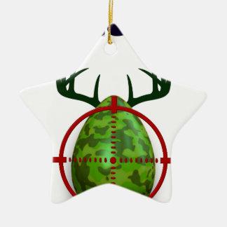 easter egg, I hunt easter deer eggs, funny shooter Ceramic Star Ornament