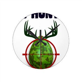 easter egg, I hunt easter deer eggs, funny shooter Round Clock