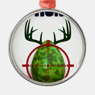 easter egg, I hunt easter deer eggs, funny shooter Silver-Colored Round Ornament
