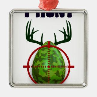 easter egg, I hunt easter deer eggs, funny shooter Silver-Colored Square Ornament