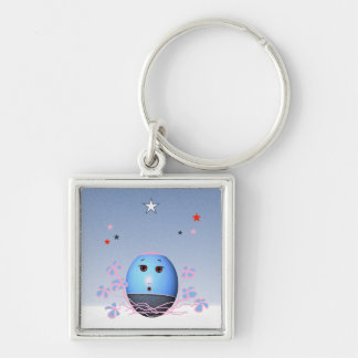 Easter Egg Silver-Colored Square Keychain