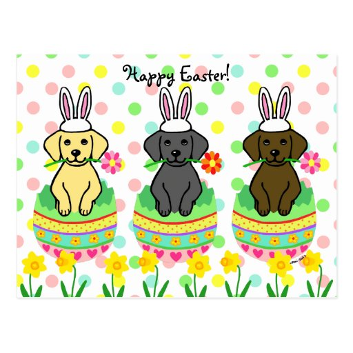 Easter Egg Lab Puppies Cartoon Post Card