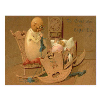 Easter Egg People Baby Clock Rocking Chair Postcard
