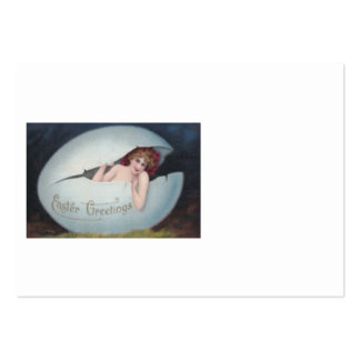 Easter Egg Pin Up Victorian Woman Business Card Template