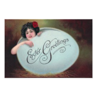 Easter Egg Pin Up Victorian Woman Photographic Print
