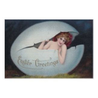Easter Egg Pin Up Victorian Woman Poster