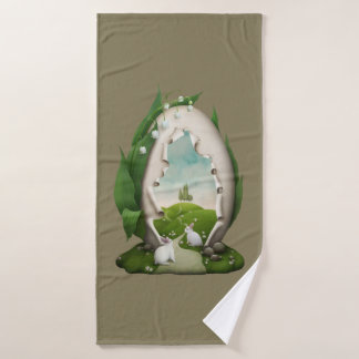Easter Egg Rabbits Bath Towel