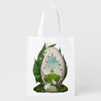 Easter Egg Rabbits Reusable Grocery Bag