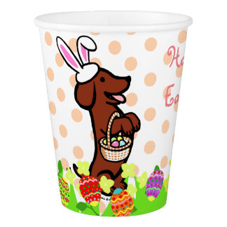 Easter Egg Red Smooth Haired Dachshund Cup Paper Cup