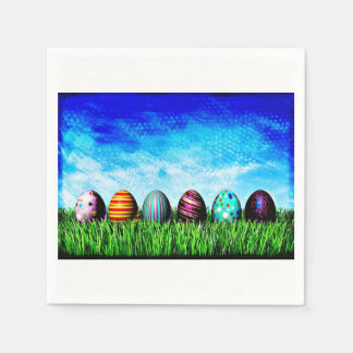 Easter Eggs All In A Row Paper Napkin