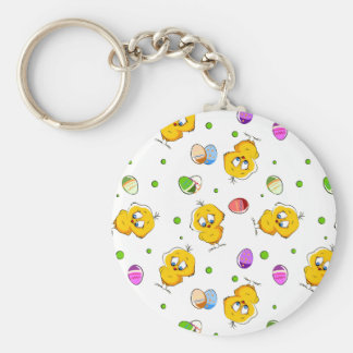 Easter Eggs & Baby Chicks Basic Round Button Keychain