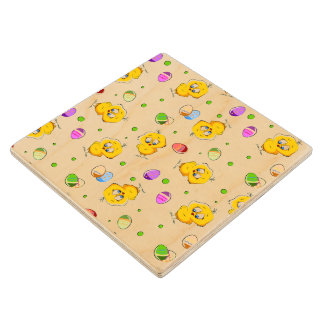Easter Eggs & Baby Chicks Wood Coaster