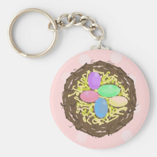 Easter Eggs Basic Round Button Keychain