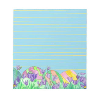 Easter Eggs Blue Yellow Lined Notepad