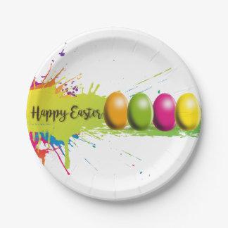 Easter Eggs Colors Splatter Paper Plate