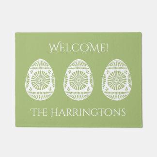 Easter Eggs custom text & color door mat