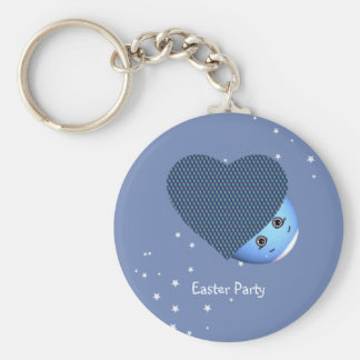 Easter Eggs Hearts Basic Round Button Keychain