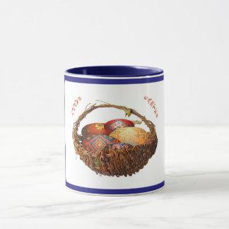Easter eggs in a basket with blue background, mug. mug