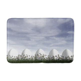 Easter eggs in nature by cloudy day - 3D render Bath Mat